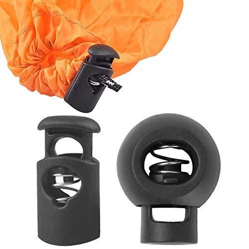 40 PCS, Cord Locks, Toggles for Drawstrings, Elastic Cord Lock, Sliding Clips, Spring Cord Lock, Cord stoppers for Elastic, Single Hole Cord Stopper, for Tent, Sweatpants, More, 2 Styles