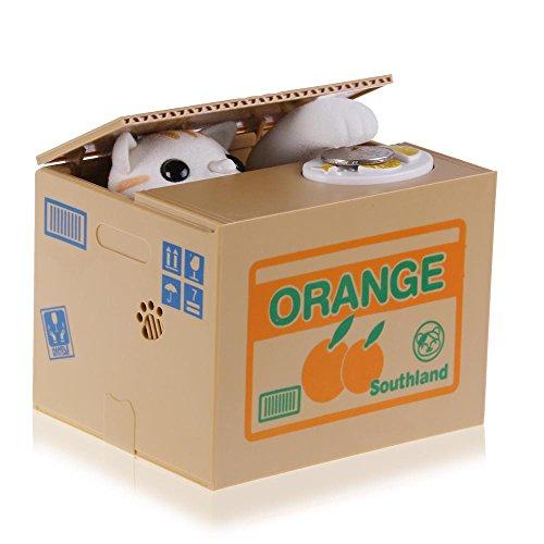 TiooDre Robo de la caja animal de la moneda hucha para ahorrar dinero con la caja de voz para niños y adultos (gato blanco)