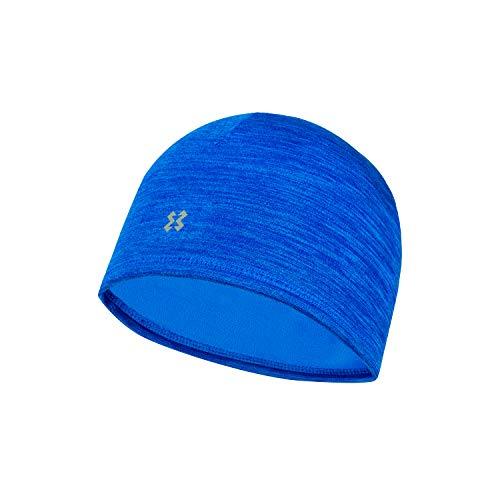 HYXE Melange Fleecemütze - Unisex Mütze mit Reflektorlogo für z. B. Laufen, Wandern, Joggen, Trail Running, Freizeit