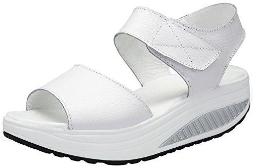DAFENP Sandali con Zeppa Donna Estivi Comode Cuoio Platform Sandalo Eleganti Plateau Scarpe con Tacco per Camminare LX308-2-white-39EU