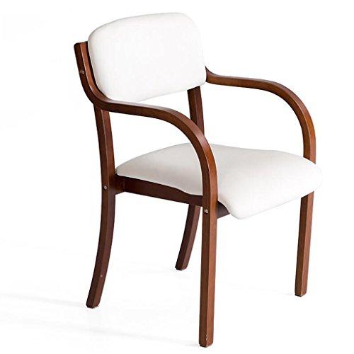 Rollsnownow Chaise de salle à manger en bois massif coussin blanc Chaise de bureau chaise simple chaise simplifié (Color : Brown wooden frame)