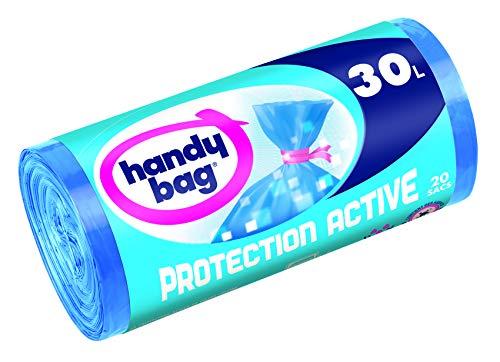Handy Bag 1 Rouleau de 20 Sacs Poubelle 30 L, Fermeture à Liens, Protection Active Anti-Bactérienne, Anti-Fuites, 50 x 70 cm, Bleu, Opaque