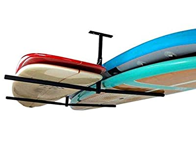 "StoreYourBoard Double SUP & Surf Ceiling Storage Rack, Hi Port 2 Overhead Hanger Mount, Home & Garage (X-Large (30"" Arms))"