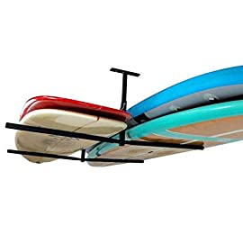 """Storeyourboard double sup & surf ceiling storage rack, hi port 2 overhead hanger mount, home & garage 1 double sup ceiling storage: two-sided overhead rack holds 2 paddleboards for space-efficient storage! Heavy-duty steel: built to hold up to 150 lbs (75 lbs per side), that's multiple boards at home, garage, or paddle shop. Adjustable height: adjust the center column adjust from 10"""" to 18"""" tall to provide you exactly the storage thickness that fits your space and storage needs; remove the arms with the push of a button."""