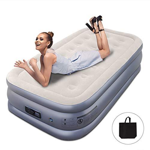WEYFLY Premium Luftbett Luftmatratze Gästebett Aufblasbares Aufblasbett Twin Size -188 x 103 x 45cm mit eingebauter elektrischer Pumpe, Max. 220kg Inkl. Aufbewahrungstasche
