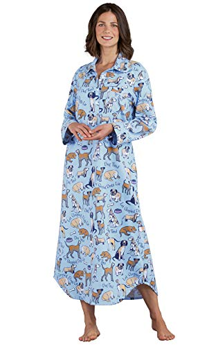 PajamaGram Women's Cotton Flannel Nightgown - Long Nightgown, Blue, M, 8-10