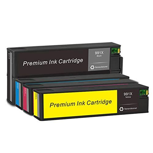 Cartuchos de tinta 991X, cartucho de repuesto para HP 750dn 750dw 772dn 772dw cartuchos de tinta de alto rendimiento compatibles con combinación de cuatro colores