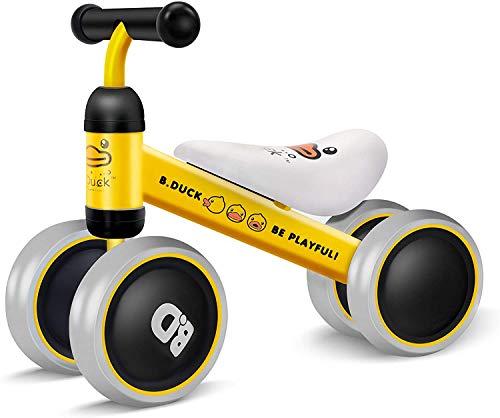 XJD Laufrad Kinder Laufrad Balance Fahrrad ohne Pedale Spielzeug für Kinder mit 3 Rädern, Erstes Baby Laufrad für Jungen/Mädchen als Geschenke, Empfohlenes Alter: 10-24 Monate(Gelb Ente)