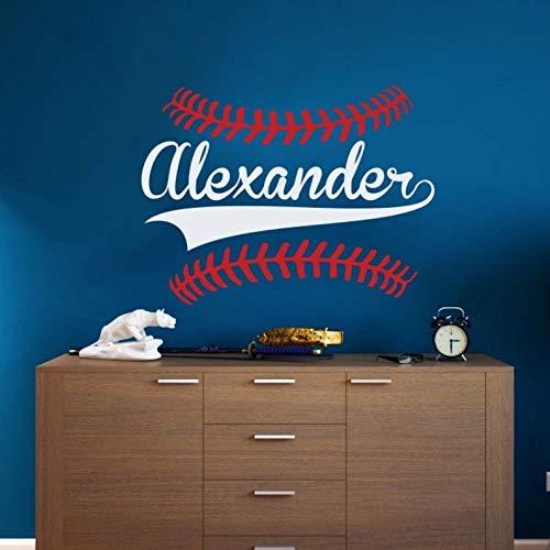 AGjDF Personalisierte Baseball Name Wandaufkleber Personalisierte Vinyl Baseball Wandtattoo Kinderzimmer Wanddekoration Wandkunst -57x42cm