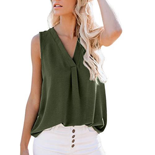 Topkal - Camiseta de tirantes para mujer con blusa y cuello en V, para verano, desenfadada, sin mangas Verde militar. XL