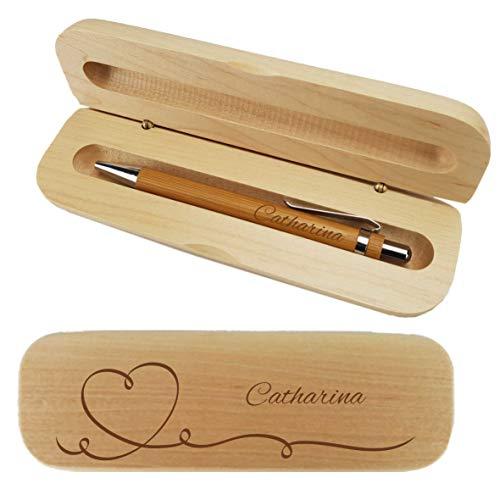 Holz-Kugelschreiber und Holzbox mit Name graviert - Personalisiertes Schreibset aus Holz - mit individueller Wunsch-Gravur als Geschenk (Herz)