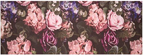 Baroni Tappeto Passatoia Cucina in PVC Antiscivolo Lavabile Fiori Rosa 60x180 cm