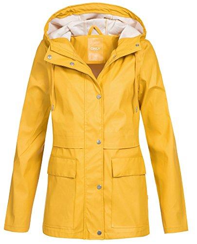 Only onlTRAIN Short Raincoat OTW Noos Impermeable, Amarillo Yolk Yellow, 40 (Talla del Fabricante: Small) para Mujer