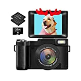 Digital Camera Vlogging Camera with Flip Screen for YouTube 24MP 3.0 Inch 2.7K Camera with Retractable Flashlight… (Black)