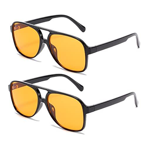 kimorn Gafas De Sol Para Mujeres Y Hombres Marco Grande Clásico Vintage Lente Amarilla Tonos Retro 70s K1017 (Amarillo)