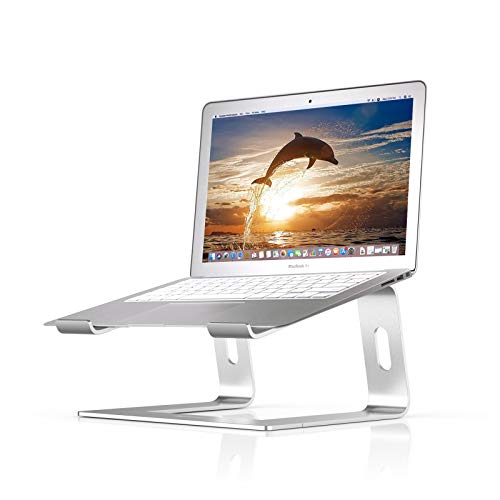 BoYata Laptop Stand, Aluminum Portable Ventilated Laptop Holder, Notebook Stand Compatible with 10-15.9'' MacBook Pro/Air, HP, Dell, Lenovo, Samsung, Acer, HUAWEI MateBook(Silver)