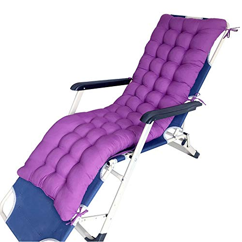 Cuscini in vimini, morbidi e spessi, in poliestere smerigliato, con lacci, cuscini per sedia a dondolo da giardino, patio, panca da sole 155x48cm Purple