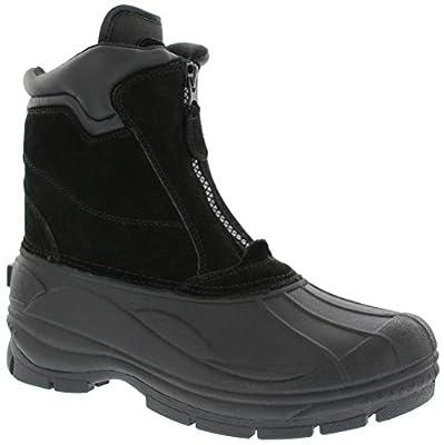 Khombu Paul Men Round Toe Suede Snow Boot Black   Front Zip Thick Rubber Sole Boot, Size - 12