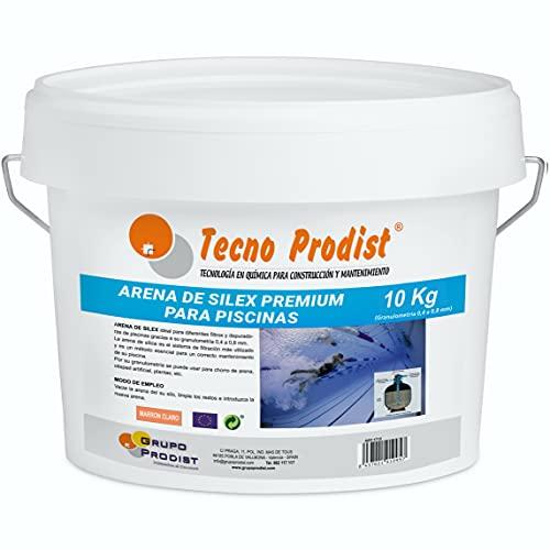 Tecno Prodist Arena DE Silex Premium para Piscinas Cubo de 10 Kg (Granulometría 0,4 a 0,8 mm) Ideal para el Filtro de su Piscina.