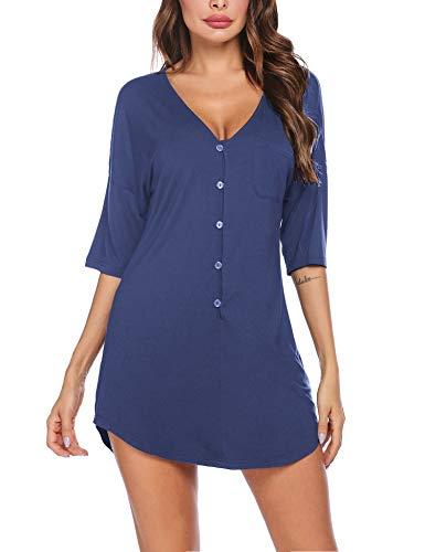 Ekouaer Nachthemd mit Knopfleiste, kurz, V-Ausschnitt, Nacht-Shirts, Damen, Boyfriend-Nachtwäsche, S-XXL - A_dark blue, size: Groß