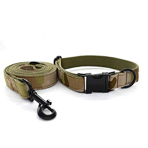 Home Wang Guinzaglio per Canicollare per Cani Mimetico Verde Militare Collare per Cani Verde Militare Set Collare per Guinzaglio Collare per Cani-Un_M