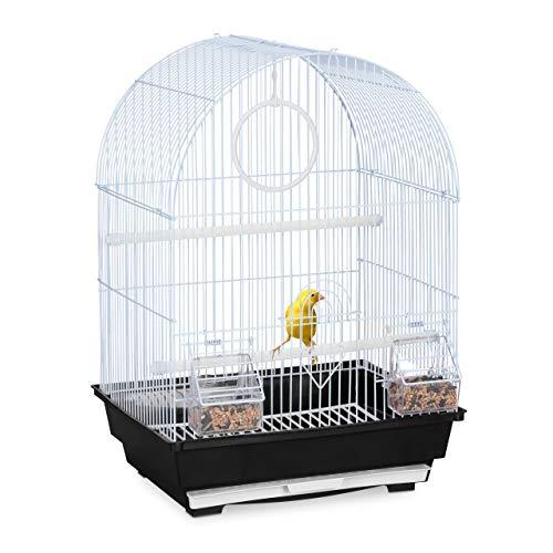 Relaxdays Vogelkäfig, Käfig Kanarienvögel, Zebrafinken, Sitzstangen, Schaukel, Futternäpfe, HBT 49,5x34,5x31 cm, schwarz