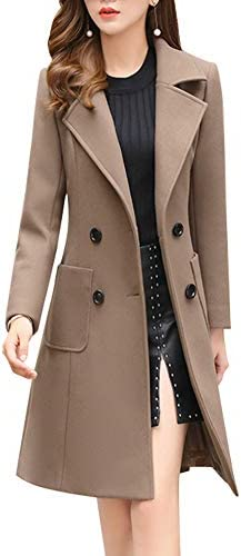 chouyatou Women Elegant Notched Collar Double Breasted Wool Blend Over Coat X Small Khaki product image
