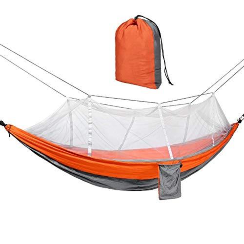 Hamacs, Meubles de Camping Facile à Transporter Moustiquaire Unique en Plein air Solide et Durable Soie Filature Charge 200 kg (Couleur: Orange, Taille: 260 * 140 cm) Confortable