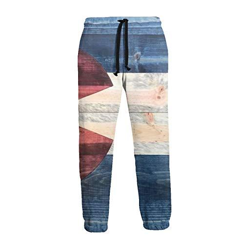 TYUO Mens Baggy Sweatpants Rustic Wood Colorado State Flag 3D Print Trousers Jogger Pants Black