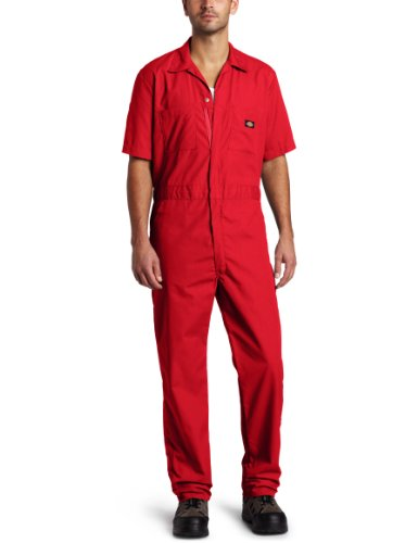 Dickies Men's Short Sleeve Coverall, Red, Large Regular