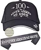 100th Birthday Gifts for Men, 100th Birthday Hat and Sash Men, 100 Never Looked So Good Baseball Cap and Sash, 100th Birthday Party Supplies, 100th Birthday Party Decorations, 100th Birthday Accessori