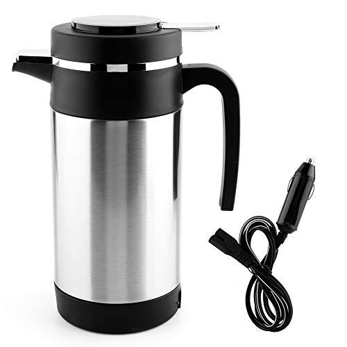 EVGATSAUTO Bouilloire électrique de Voiture en Acier Inoxydable 1000ML café thé Thermos Tasse de Chauffage de l'eau 12V