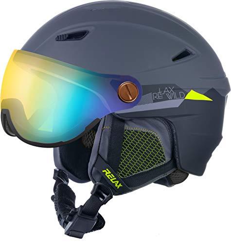 Relax Skihelm Stealth mit Visier | Snowboardhelm | Skihelmet | Race-Helm für Damen und Herren (Grau, L (58-60cm))