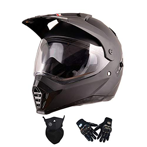 VOMI Moto Casco Motocicleta Hombres con Guantes Máscara, Visera Doble, Casco de Motocross Casco Enduro Integral Adulto Casco Cross MTB Descenso Bici Off-Road Racing Quad Scooter,Matt Black,L