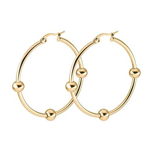 KNSAM - Hombres Mujeres Aretes de aro Pendientes de Aro de Acero Inoxidable 1 par Oro 50MM con la bola pequeña [ Joyería de Moda ]