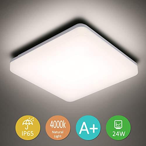 Plafoniera LED,Lampada da Soffitto LED 24W,IP65 Impermeabile Bianco Naturale 4000K Plafoniera Luce Quadrata per Soggiorno Sala da Pranzo Camera da Letto Bagno Cucina