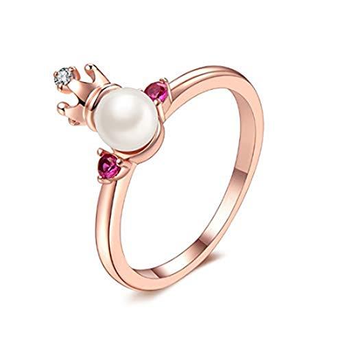 yichahu Anillo de compromiso ajustable de oro rosa con perlas de agua dulce y perlas de princesa