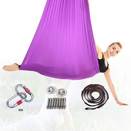 HIMABeauty Juego De Hamaca De Yoga con Accesorios, 196.85 * 110.23 Inch Aerial Yoga Swing para Colgarse Y Aliviar El Dolor De Espalda para Gimnasio, Hogar