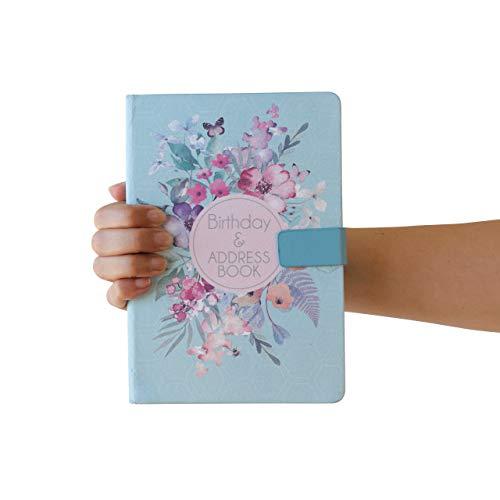 Green Flower A bis Z Telefonbuch/Adressbuch, A-Z Index, fester Einband, mit Stift, A5 Adressbuch, Home Office, Arbeit, Grün