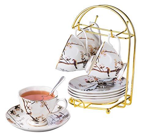 Jusalpha Porcelain Tea Set- 7 Oz- Bird Tree Classic Tea Cup/Coffee cup spoon and saucer set (4 Teacup set with holder)
