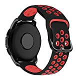 MroTech 20mm Uhrenarmband kompatibel für Samsung Galaxy Watch 42MM/Active 2/Active2 40mm/44mm Armband Silikon Uhrenband Ersatz für Huawei GT 2 42MM/Vivoactive 3/Vivomove HR Ersatzarmband Schwarz/Rot