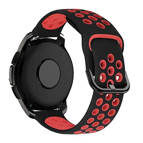 MroTech Correa 20mm Silicona Compatible Samsung Galaxy Watch 42mm/Active/Active2 40mm 44mm/Gear Sport Pulsera Repuesto para Vivoactive 3/Ticwatch 2/E/C2/Huawei GT2 42 MM/Magic 2 42mm Band,Negro/Rojo