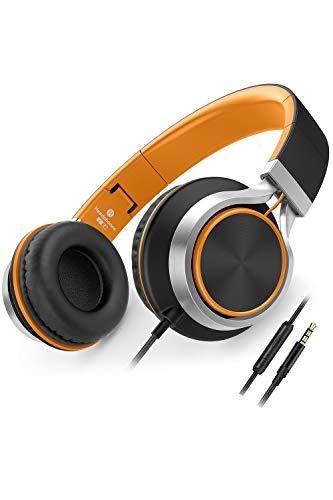 AILIHEN Kopfhörer Mit Kabel Mikrofon Lautstärkeregelung Leicht Faltbar Musik Headsets 3,5mm für Smartphones PC Laptop Mac MP3 Tablet (Orange)