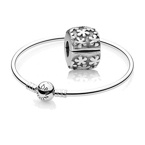 Pandora Original Geschenkset Starterset - 1 Silber Armreif 590713-17 + 1 Silber Clip 790533 Blumenwiese