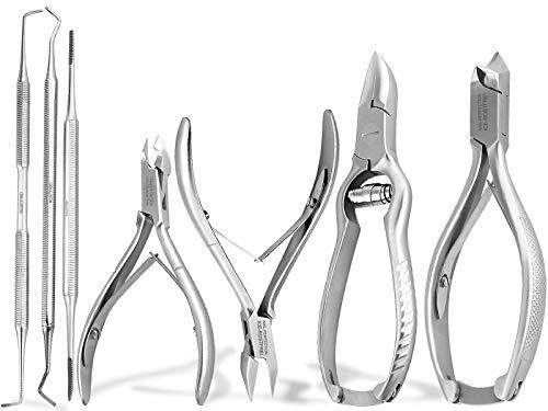Nagelzange Fußpflege-Instrumente Set 7-teilig Nagelzangen für starke Nägel Hautzange Eckenheber Eckenfeile für Maniküre und Pediküre als Set-Angebot