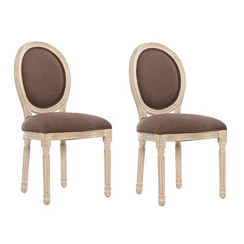 Lot de 2 chaises médaillon Versailles Style Louis XVI Lin Marron
