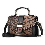 Bolso de Mujer de Moda Bolso de Hombro Estampado de Leopardo PU Bolsos Crossbody de Cuero Coffee 20X14X7.5Cm
