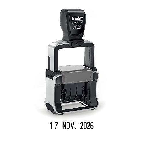 Trodat Professional 5030 Timbro datario 4.0 a inchiostro automatico – Altezza cifre 4 mm, inchiostro nero