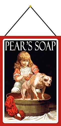 Metalen bord 20 x 30 cm gebogen met koord Pears Soap Zeep Bad Hond reclame Retro reclame decoratief geschenk bord