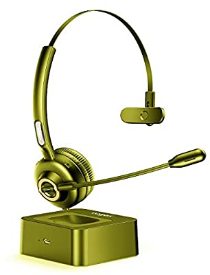 Bluetooth Headset with Microphone, Vogek Trucker Bluetooth Headset Noise Cancelling Mic with Charging Base, Hands-Free Wireless Headphones for Cell Phones PC Laptop Home Office Call Center Skype (yellow) from Vogek